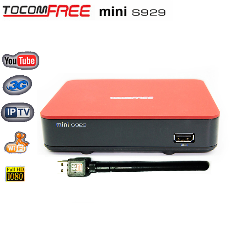 TOCOMFREE mini S929 Decoder with Free IKS+SKS+IPTV Nagra3 Twin tuner receptor tocomfree satellite receiver for Chile,Brazil