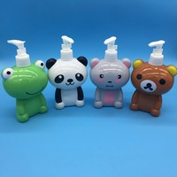 300ml cute animal type cartoon plastic lotion bottle with pump spray for shampoo or cleaning and washing