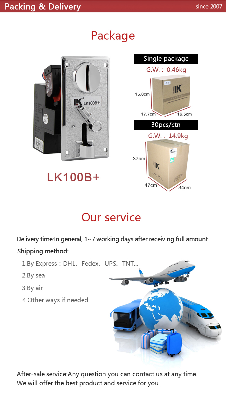 LK100B+ coin selector manufacturer for mini bowling game on hot sale