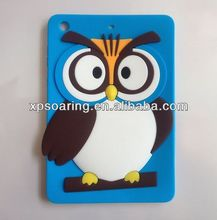 Hot sell Owl silicone cover back case for ipad mini
