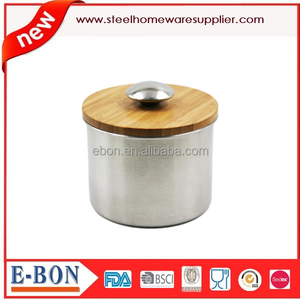 Stainless Steel Coffee Kitchen Canisters With Wooden Lid