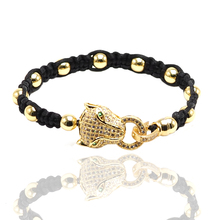 Fashion AAA CZ jewelry leopard colorful thread string rope Charm Bracelets