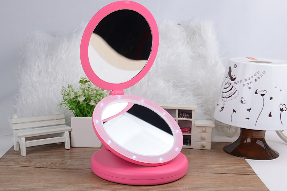 Magnifying Illuminated Pocket Mirror X1 And X2 Sides And