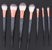 7PCS Elegant black diamond makeup brush portable luxury oval makeup brush set