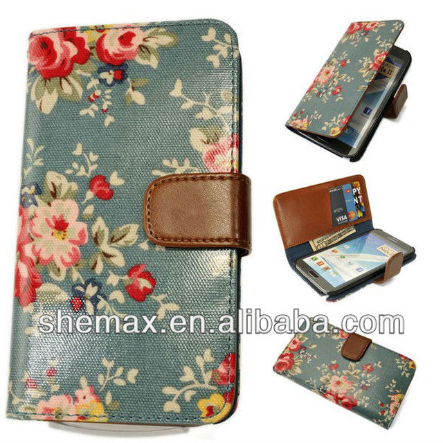 Floral Print Leather Case Flip Cover Card Wallet Pouch for SAMSUNG Galaxy Note 2