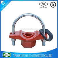 Fm /UL Approved Ductile Iron Grooved Pipe Fittings U-bolt Mechanical Tee