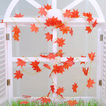 Hanging Artificial Maple Leaf Plants Silk Garland/vine