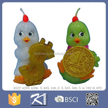 Small rooster shaped candle wax animal figures for Russia new year