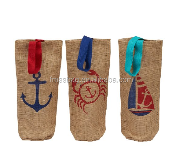 Custom Special Design Wine Bottle Jute Tote Bags With Handles