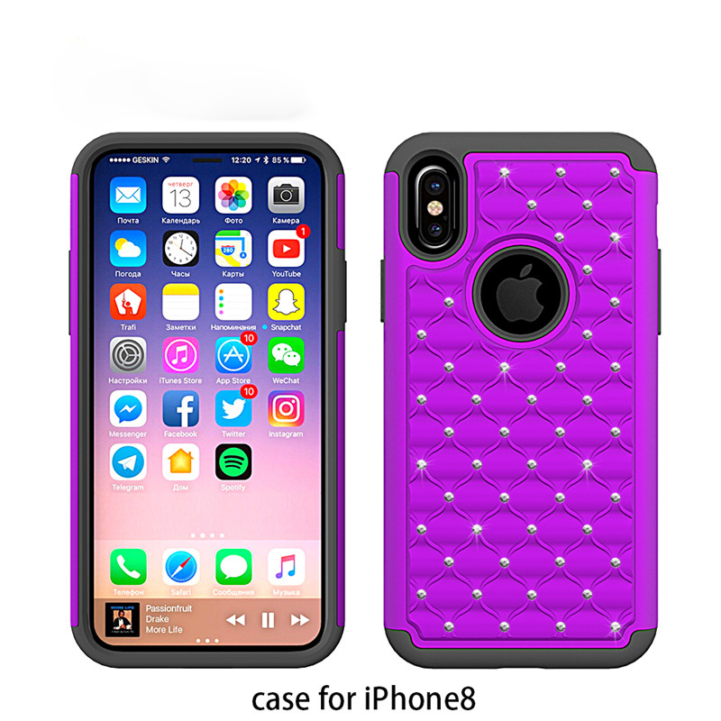 For iPhone X New Case, Rubber Coating Rhinestone Diamond Cover Phone Shell for Apple Phone Models