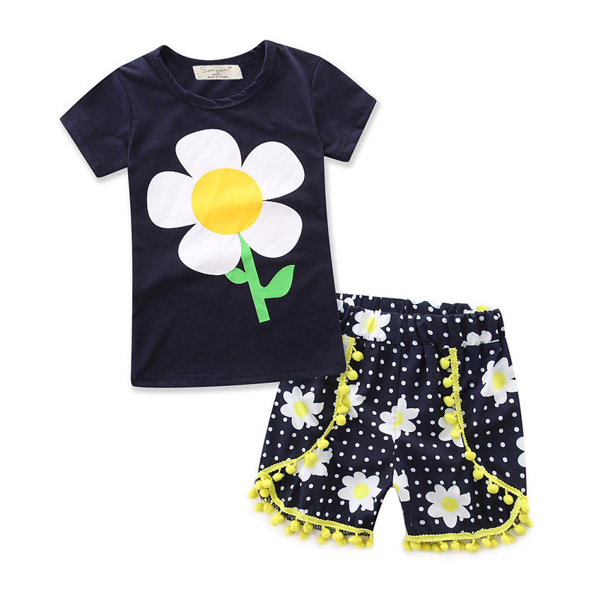 Hot selling fashion cute black floral tshirt pants 2pcs girl clothes kids clothing wholesale