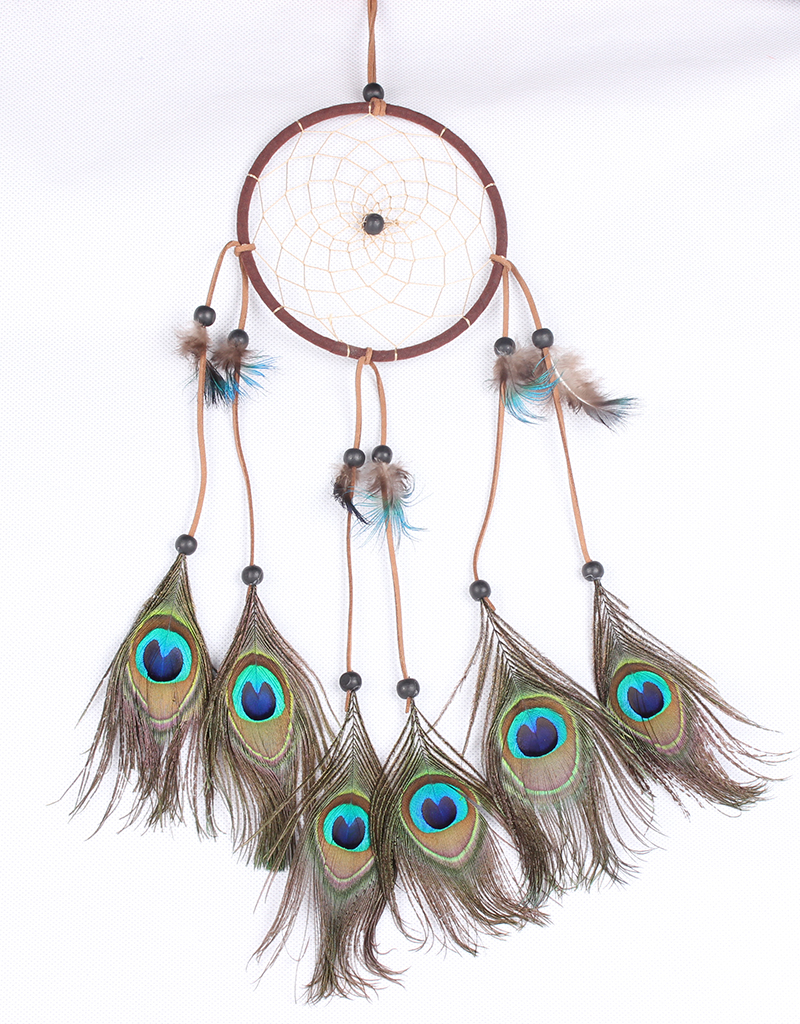 peacock feathers brown dream catcher MSL1518
