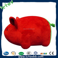 custom soft stuffed toy pink pig with funny tail