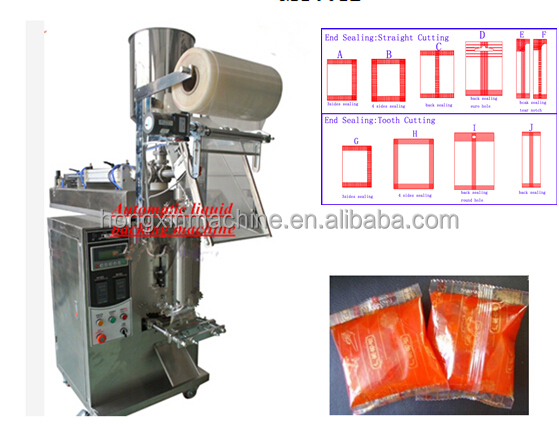 Back Seal Automatic liquild honey fruit sauce ketchup sachet packing machine