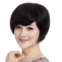 2015 New Trendy High Quality 100% Short Human hair Wigs for Women, Aseptic Net Wigs with Bangs, Fashion Wig Young Love Gift