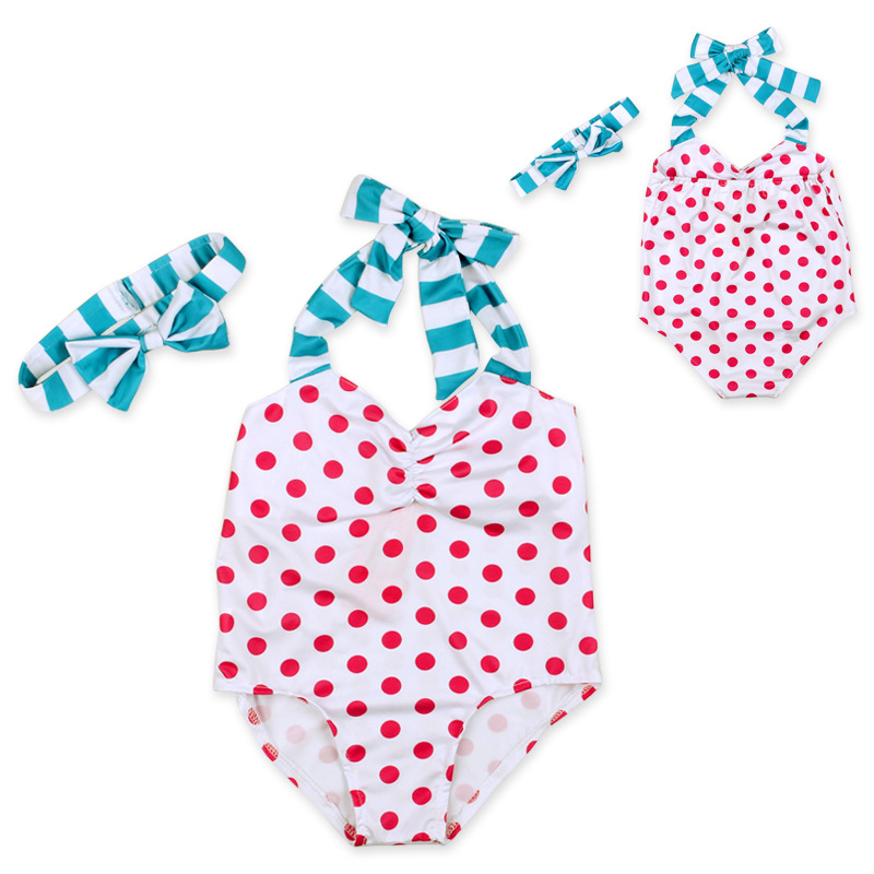 Toddler Baby Girls' One Piece Jumpsuit Swimsuit Polka Dot Kids Swimwear