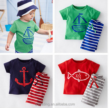 Summer cotton 2-7 years short sleeves Europe and America Corsair carton cheap boutique boy baby clothes set clothing