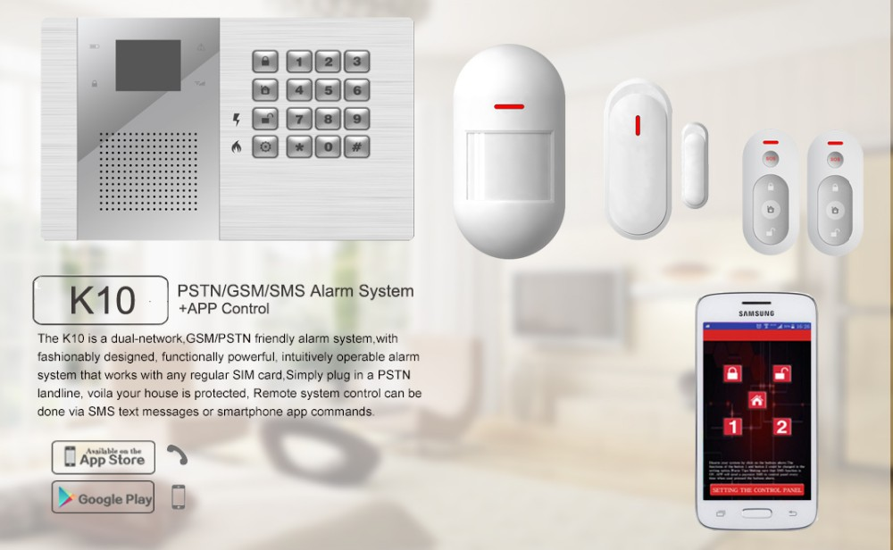 Intelligent Gsm Pstn Home Burglar Security Alarm System With 32 Wireless Zones Available