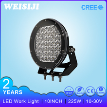 hottest super bright 10 inch 225w led work light 5w spot led driving light on 4X4 auto truck