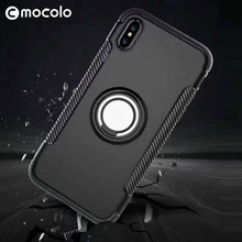 Mocolo Wholesale Tpu Pc Material Cellphone Protector Phone Case Back Cover With Iron Ring For Iphone 8 8Plus X