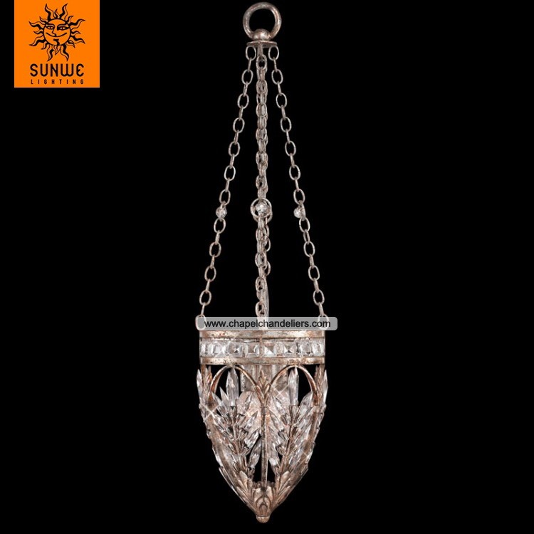 Mid cent Empire sliver antique metal iron crystal pendant light