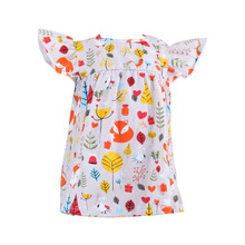 summer baby frocks design latest arrival kids clothing boutique cartoon animals printed pearl tunic for children wear