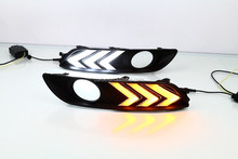 With yellow turn signal function light!! led daytime running light for Nissan Sylphy