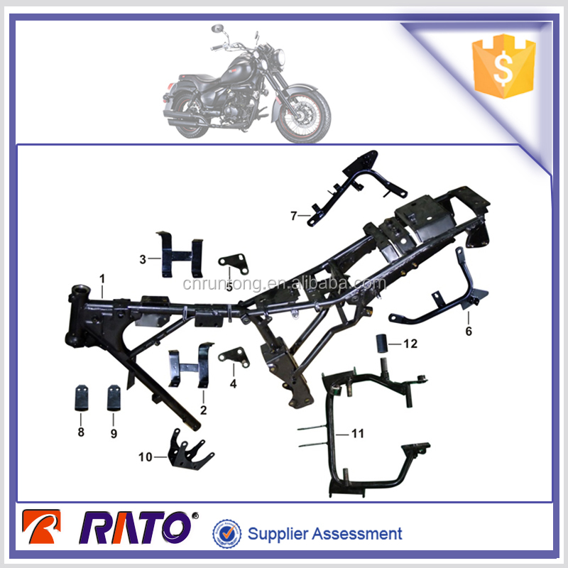 For ITALIKA TC200 motorcycle body parts frame assy & main step bracket etc.