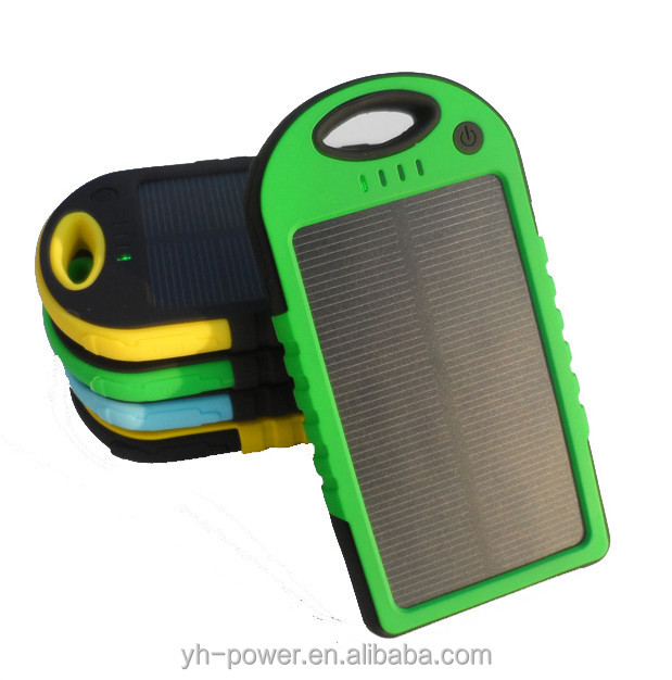2016 Solar Power Bank 5000mAh Waterproof Powerbank Cargador Portable Solar Charger for Cell Phones