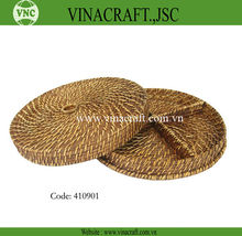Rattan compartment baskets with lid