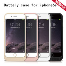 CE FCC RoHS replacement power case for IPhone 6S pink gold 5800mAh battery case for Apple 6S