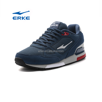 ERKE wholesale factory dropshipping hot sales simple design black blue sport running shoes
