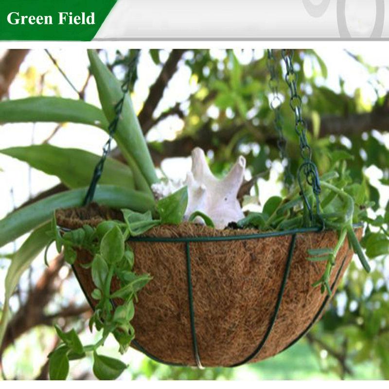 M tal suspendus plante qui pousse panier avec coco liner for Plante qui pousse