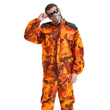 battery heated camouflage jacket orange color heated hunting jacket for outdoor