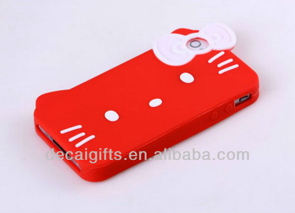 Custom Hello kitty pattern Silicone Phone Case for Iphone 4 & 4S