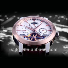 2014 trend steel watch business casual antique automatic mechanical black skeleton mens watch