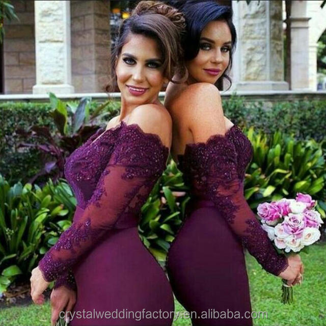 Good Quality New Cheap Lace Beaded Crystal Wine Red Long Sleeve Mermaid Bridesmaid Dress MB2569