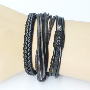 DIY Knit Suit Leather Bracelet Braided Knot Combination, Wax Rope Multiple Roots 6pcs/set