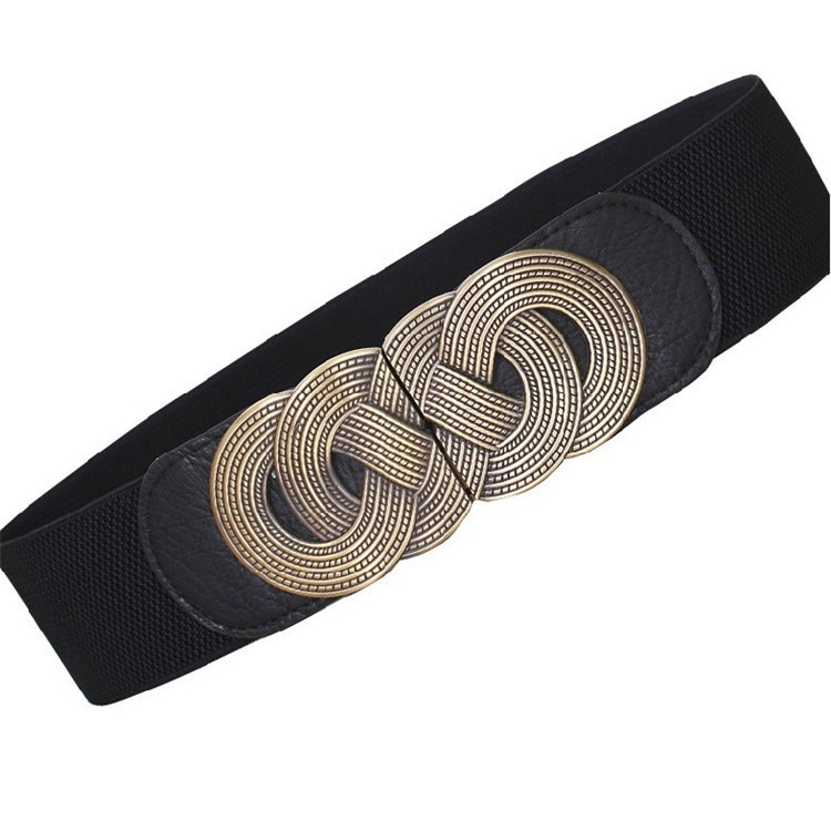 wp1028a Vintage Buckle Black Female Waist Belt for Skirt