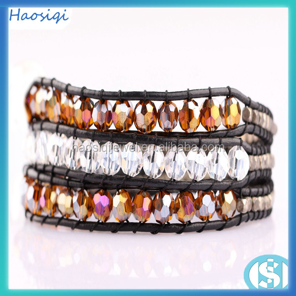 Fashion Luu style natural clear crystal beads hand made wrap bracelet jewelry