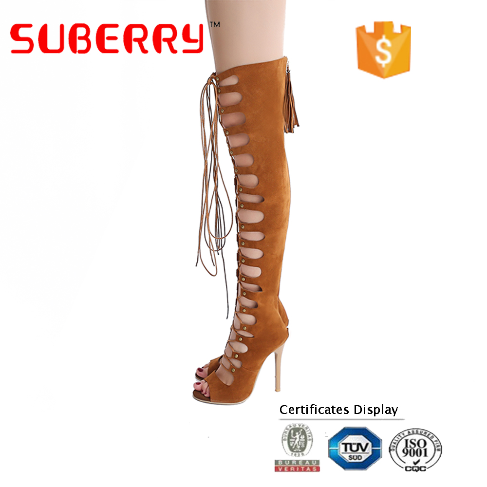 China sexy suede high heel open toe long boots women lace up thigh high boots 2017