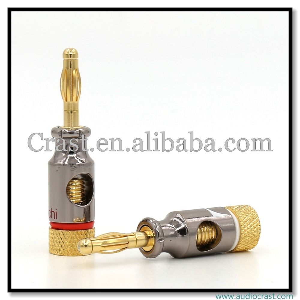Premium 24k Gold Plated Banana Plug Audio Speaker Cable Connector