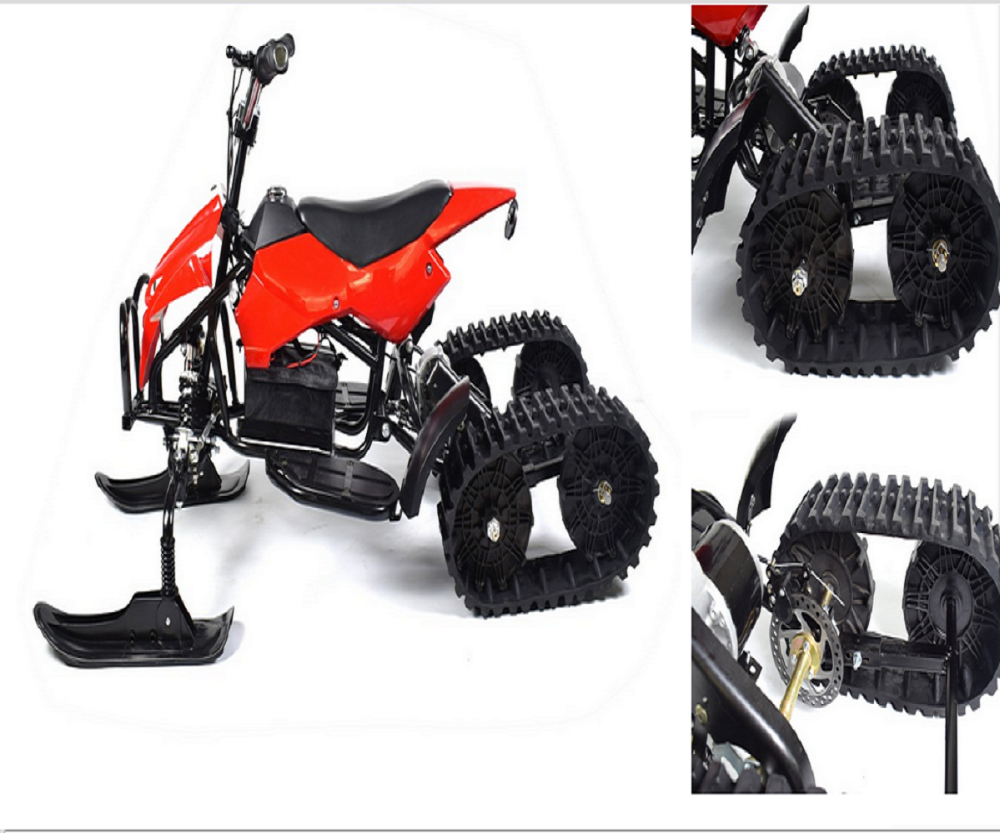 walmart kids Snowmobile two way steel rubber tracks snow bike ski scooter
