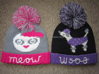 custom winter knitted jacquard beanie hat in cute cartoon pattern with big pom and hand crochet decoration for girls and ladies