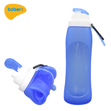 500ml BPA Free Leakproof Silicone Collapsible Water Bottle For Outdoor Sports Hiking Camping