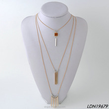 3 layres gold plate cluster vertical bars necklace with natural stone