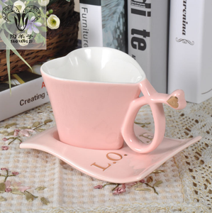 Italian style 150ml heart shaped fine porcelain coffee cup with holder