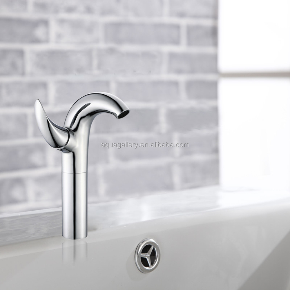 Long Neck Single Handle Chrome Plated Ornate Bathroom Faucet