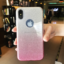 IphoneX Cell Phone Case Glitter Pattern Back Shell Full Cover Gradient Color