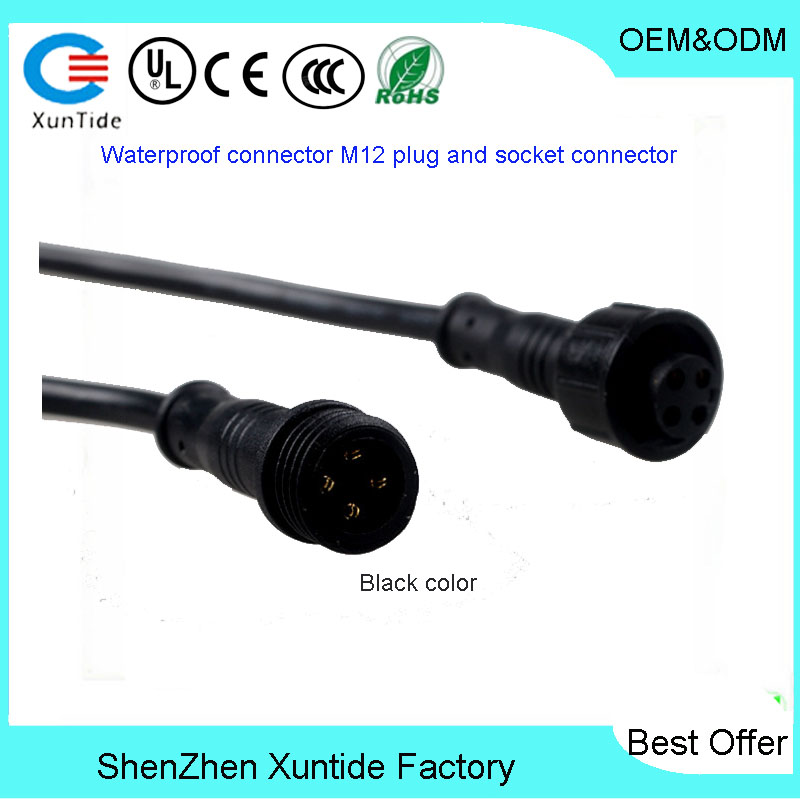 Waterproof M12 plastic styles multi cores cable connector waterproof usb male and female connector